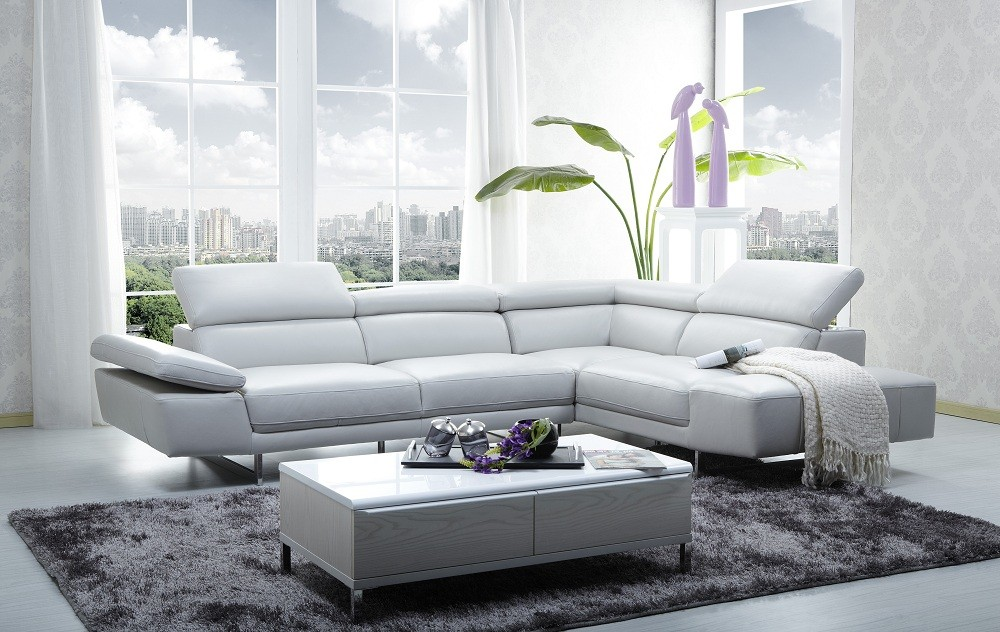 1717 Italian Leather Sectional ...
