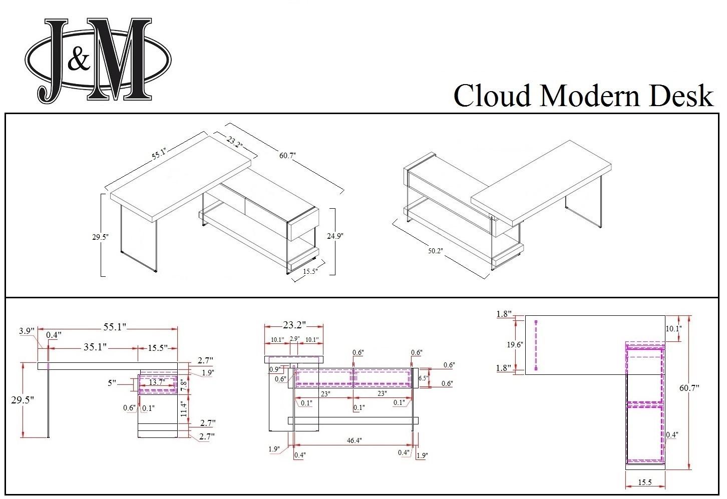 Jm Furniture Modern Wholesale Office Cloud Desk Schematic In High Gloss