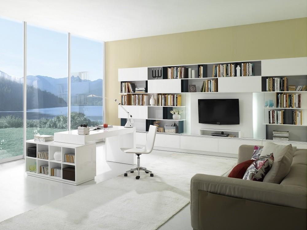 Genial S005 Modern Office Desk White High Gloss ...