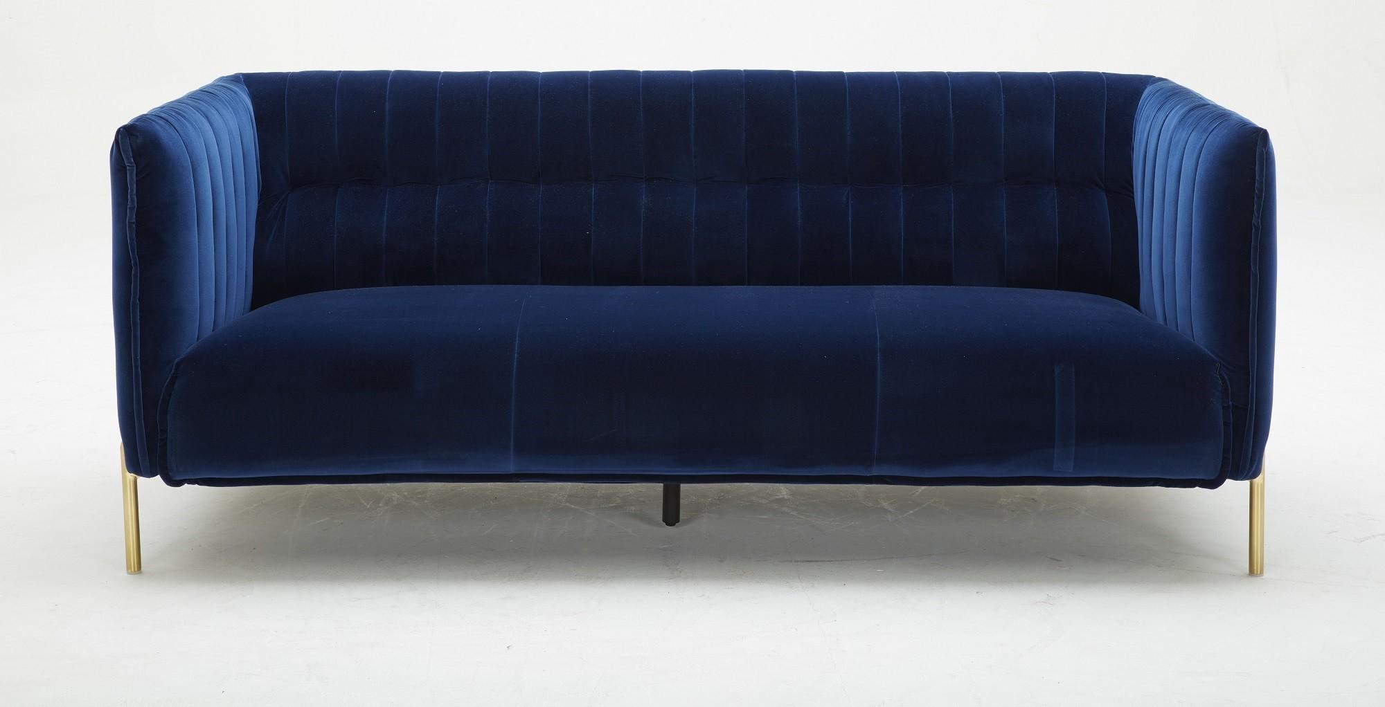 Deco Blue Fabric Sofa Set
