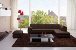 625 Italian Leather Sectional in Brown