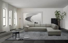 625 Italian Leather Sectional in Grey