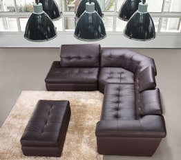 397 Italian Leather Sectional Chocolate Color