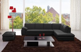 625 Italian Leather Sectional in Black
