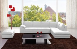 625 Italian Leather Sectional in White