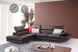 A761 Italian Leather Sectional in Coffee