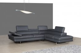 A761 Italian Leather Sectional Slate Grey