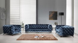 Glitz Blue Sofa Set