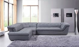397 Italian Leather Sectional in Grey