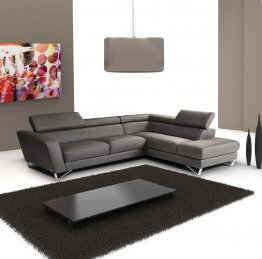 Sparta Italian Leather Sectional Grey