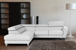 Sparta Italian Leather Sectional White