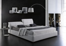 Tower Storage Bed In White Eco Leather