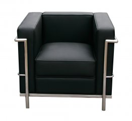 Cour Italian Leather Chair in Black