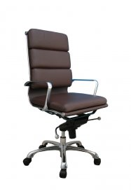 Plush High Back Office Chair In Brown