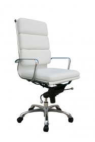 Plush High Back Office Chair In White