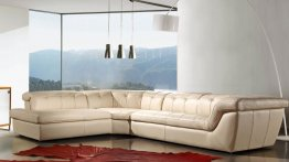 397 Italian Leather Sectional in Beige