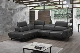 Davenport Leather Sectional in Slate Grey