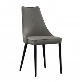 Milano Leather Dining Chair in Light Grey