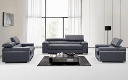 Soho Leather Sofa in Grey