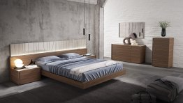 Porto Premium Bedroom Set in Walnut with Light Grey