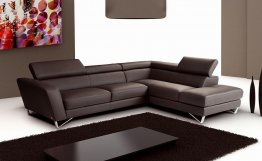 Sparta Italian Leather Sectional Chocolate