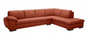 625 Italian Leather Sectional in Pumpkin
