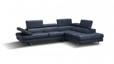 A761 Italian Leather Sectional in Blue