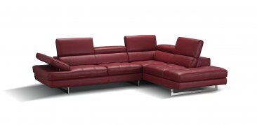 A761 Italian Leather Sectional in Red