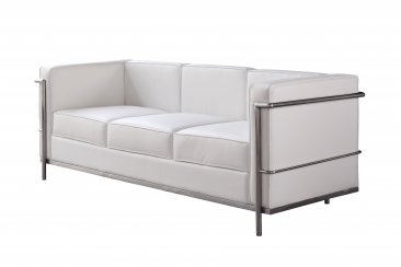 Cour Italian Leather Sofa in White