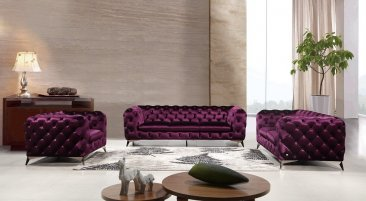 Glitz Purple Sofa Set