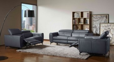 Lorenzo Motion Sofa Set In Blue Grey