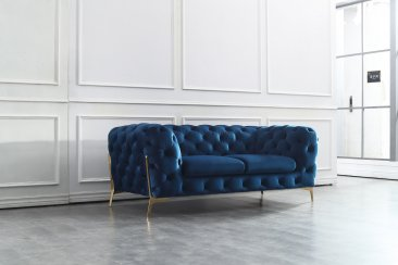 Glamour Blue Sofa Set