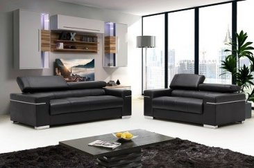 Soho Leather Sofa in Black