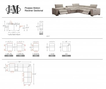 Picasso 6Pc Motion Sectional In Blue Grey