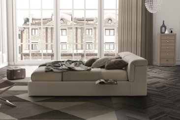 Tower Beige Fabric Storage Bed