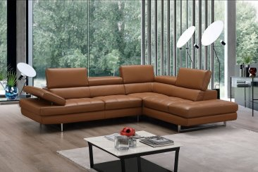A761 Italian Leather Sectional in Caramel