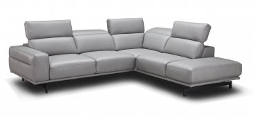 Davenport Leather Sectional in Light Grey